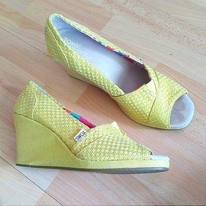 TOMS Happy Yellow Weave Wedge Espadrille Heels